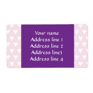Corazones blancos personalizados del amor del rosa etiquetas de envío
