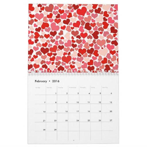 Corazones calendario lindo de febrero de 2012
