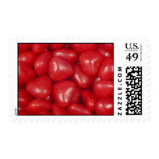 Corazones calientes del caramelo fijados timbre postal