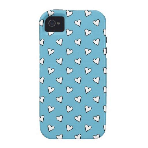 Corazones caprichosos en fondo azul Case-Mate iPhone 4 funda