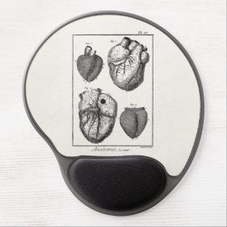 Corazones cardiacos retros de la anatomía del cora alfombrillas de raton con gel