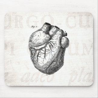 Corazones cardiacos retros de la anatomía del cora alfombrillas de ratón