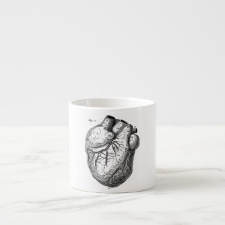 Corazones cardiacos retros de la anatomía del cora taza de espresso