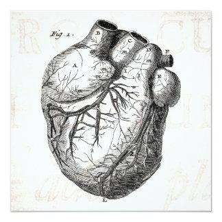 """Corazones cardiacos retros de la anatomía del invitación 5.25"""" x 5.25"""""""