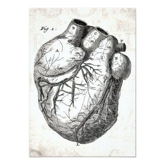 """Corazones cardiacos retros de la anatomía del invitación 5"""" x 7"""""""