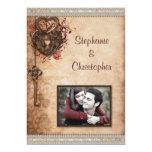 Corazones cerradura del vintage y boda de la foto comunicados personalizados