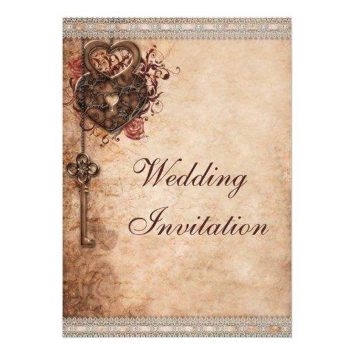 Corazones cerradura del vintage y boda de la llave invitaciones personales