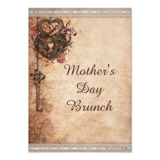 Corazones cerradura y llave del vintage del brunch invitación 12,7 x 17,8 cm