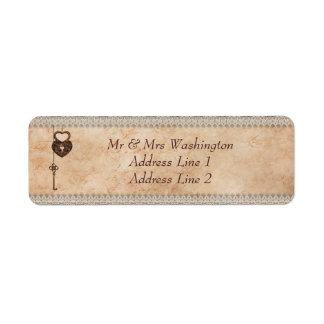 Corazones cerradura y llave del vintage etiqueta de remite
