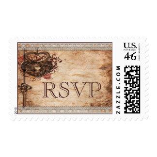 Corazones cerradura y llave del vintage que casan  sellos
