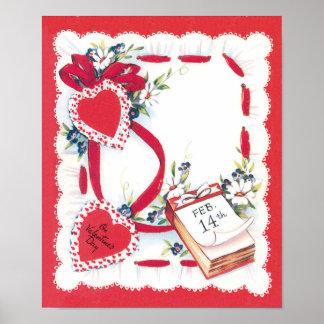 Corazones, cinta y flores del el día de San Póster