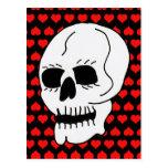 Corazones clásicos blancos del rojo del cráneo postal