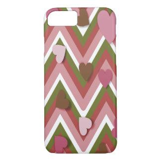 Corazones color de rosa y Cheverons Funda iPhone 7