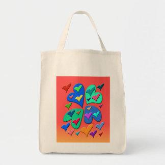 Corazones coloridos bolsa tela para la compra