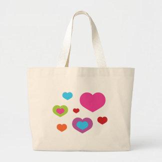 Corazones coloridos bolsas de mano