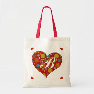 corazones coloridos de los lunares personalizados bolsa tela barata