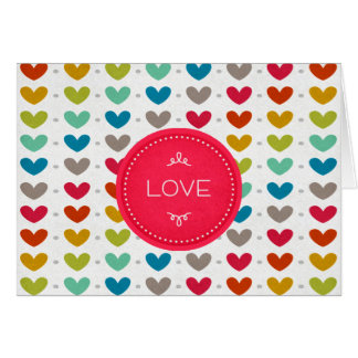 Corazones coloridos y una puntada del amor tarjeta de felicitación