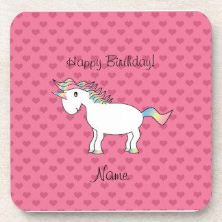 Corazones conocidos del rosa del unicornio del cum posavaso