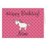 Corazones conocidos del rosa del unicornio del cum tarjetas