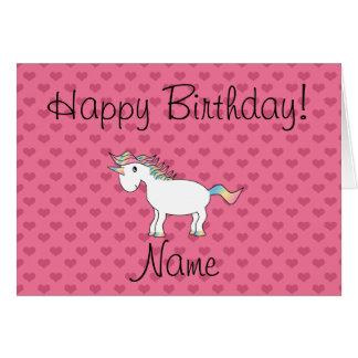 Corazones conocidos del rosa del unicornio del cum tarjeta de felicitación