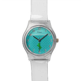Corazones conocidos personalizados de la turquesa relojes