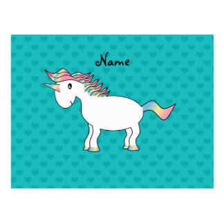 Corazones conocidos personalizados de la turquesa  postales