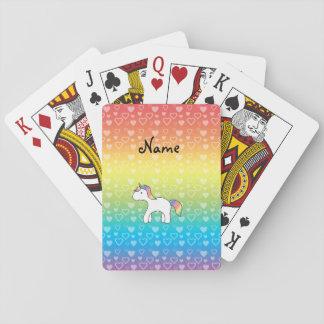 Corazones conocidos personalizados del arco iris baraja de cartas
