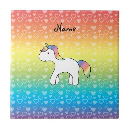 Corazones conocidos personalizados del arco iris d azulejo cuadrado pequeño