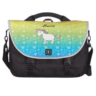 Corazones conocidos personalizados del arco iris d bolsas de portátil