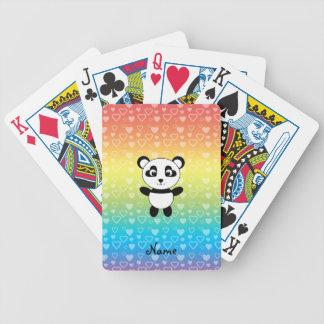 Corazones conocidos personalizados del arco iris d cartas de juego