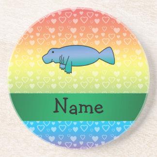 Corazones conocidos personalizados del arco iris d posavasos para bebidas