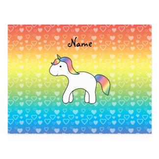 Corazones conocidos personalizados del arco iris d tarjeta postal