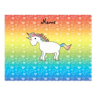 Corazones conocidos personalizados del arco iris d tarjetas postales