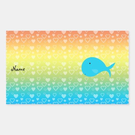 Corazones conocidos personalizados del arco iris pegatina rectangular