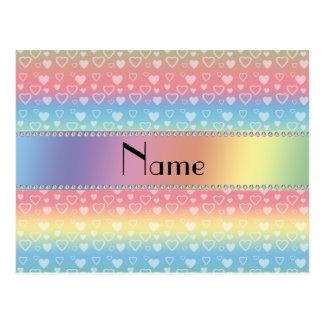 Corazones conocidos personalizados del arco iris postal