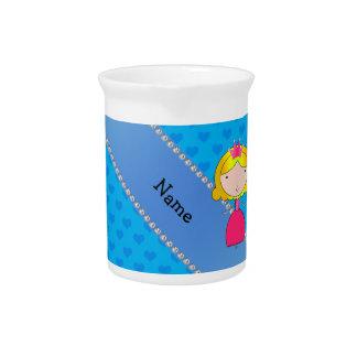 Corazones conocidos personalizados del azul de la  jarras de beber