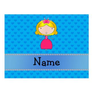 Corazones conocidos personalizados del azul de la postal