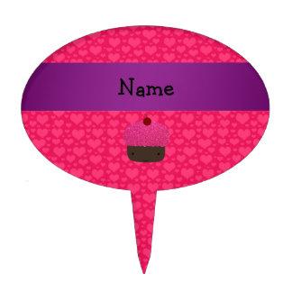 Corazones conocidos personalizados del rosa de la  figuras de tarta