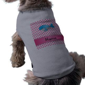 Corazones conocidos personalizados del rosa de la  playera sin mangas para perro