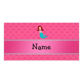 Corazones conocidos personalizados del rosa de la  tarjeta fotográfica