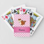 Corazones conocidos personalizados del rosa del ch cartas de juego