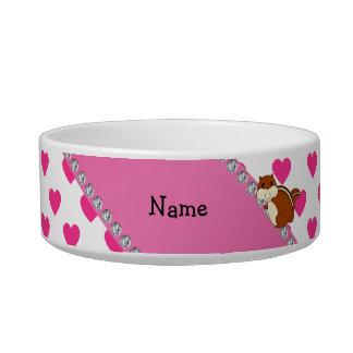 Corazones conocidos personalizados del rosa del comedero para mascota