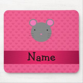 Corazones conocidos personalizados del rosa del ra alfombrilla de raton
