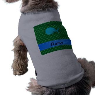 Corazones conocidos personalizados del verde de la playera sin mangas para perro