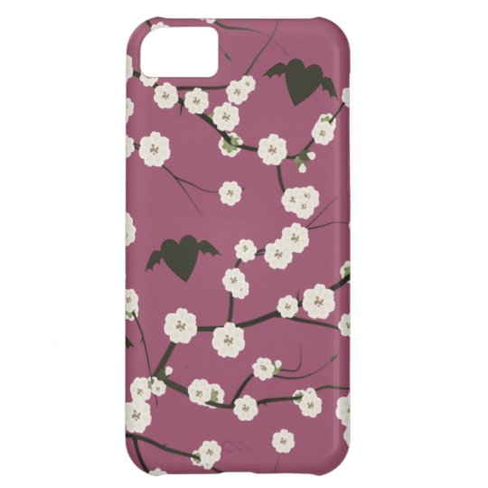 Corazones cons alas flor de cerezo color de rosa carcasa iPhone 5C