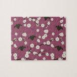 Corazones cons alas flor de cerezo color de rosa p rompecabeza