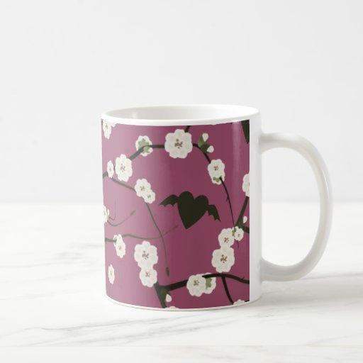 Corazones cons alas flor de cerezo color de rosa p taza