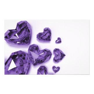 Corazones cristalinos - púrpura  papeleria