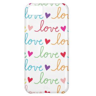Corazones cursivos multicolores del amor funda para iPhone 5C