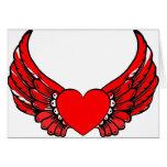 Corazones de alas rojas felicitacion
